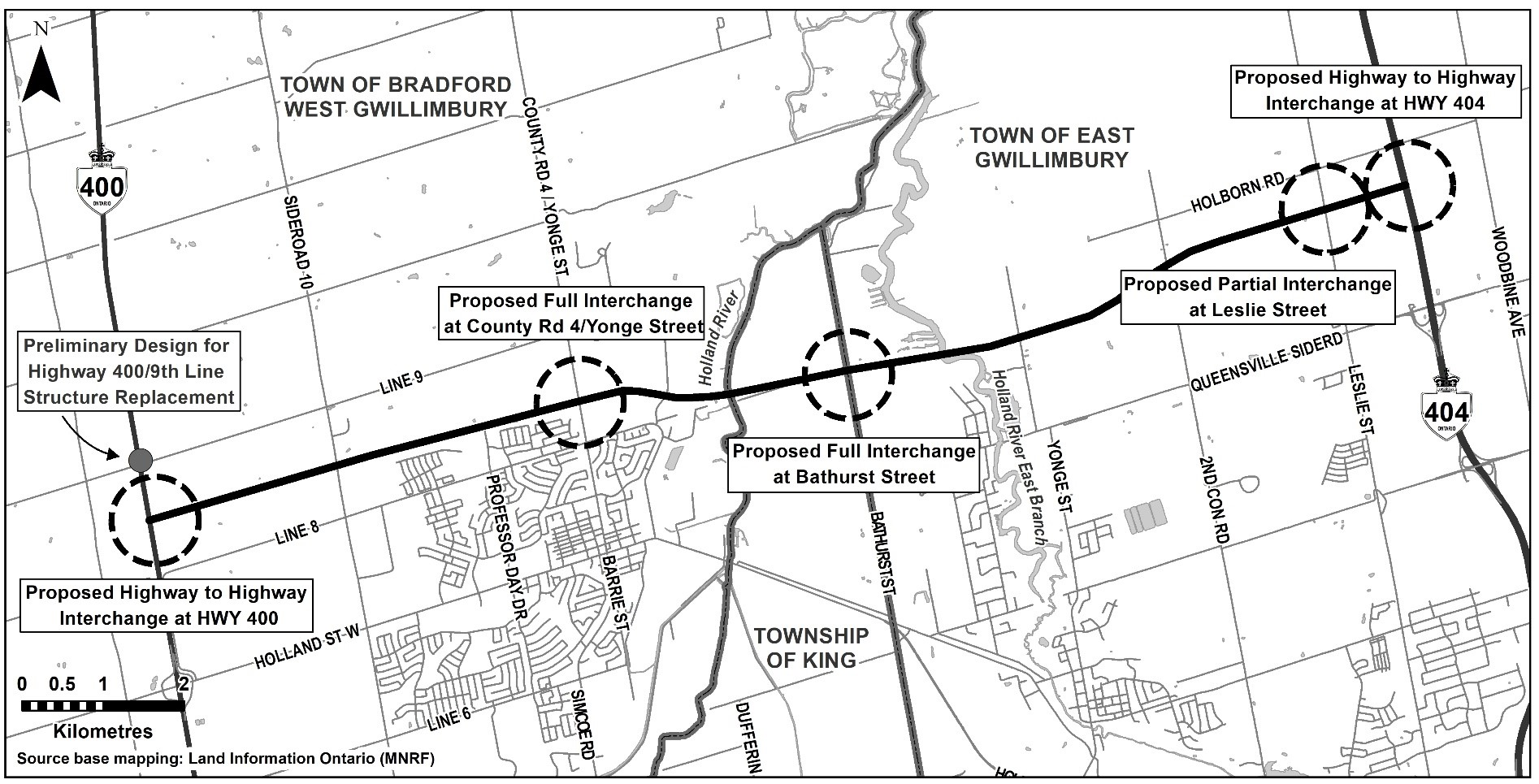 A project map that illustrates the locations for proposed interchanges and the preliminary design for the Highway 400/9th Line Structure Replacement for the Bradford Bypass.