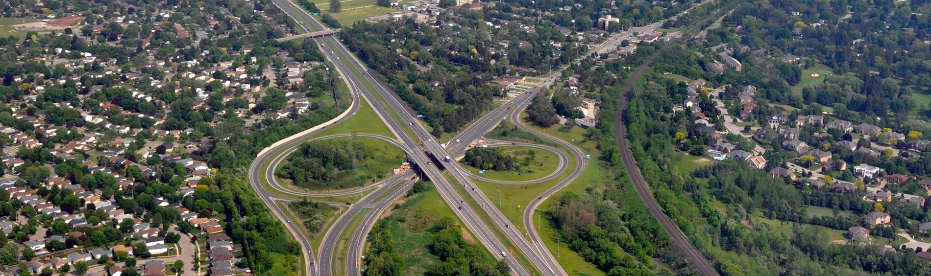 An aerial photograph of Bradford Ontario.