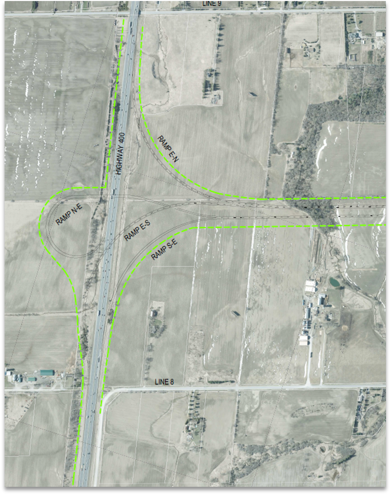 Highway 400 Interchange Base Case from 2002 Approved Environmental Assessment