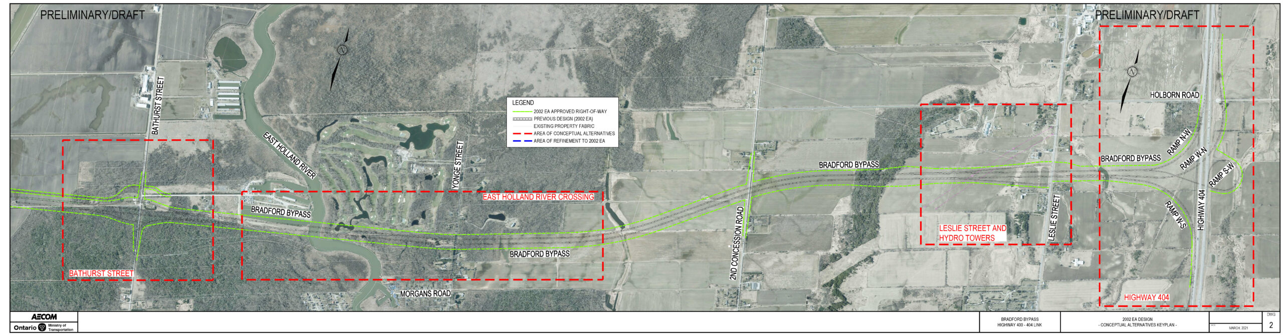 2002 Approved EA Alignment for the Bradford Bypass which serves as the Preliminary Design Base Case
