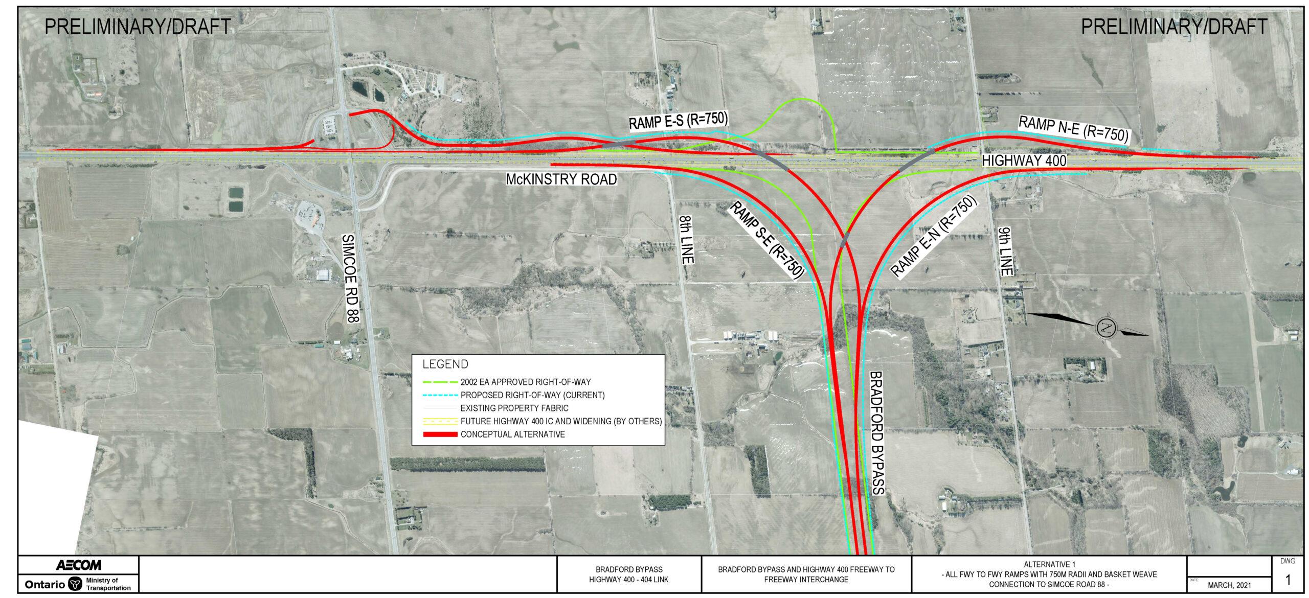 Highway 400 Interchange Refinement Alternative 1 with basketweave 750 metre ramp radii