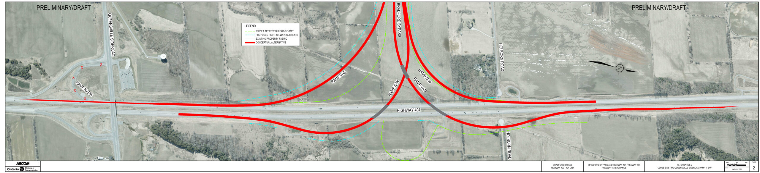 Highway 404 Interchange Refinement Alternative 2 with two lane extension from Bradford Bypass beyond Queensville Sideroad and remove existing Queensville Sideroad ramp
