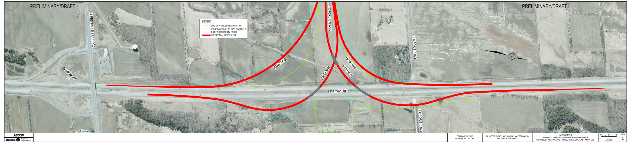 Highway 404 Interchange Refinement Alternative 3 with one lane extension from Bradford Bypass to Connect with Existing Queensville Sideroad Ramp