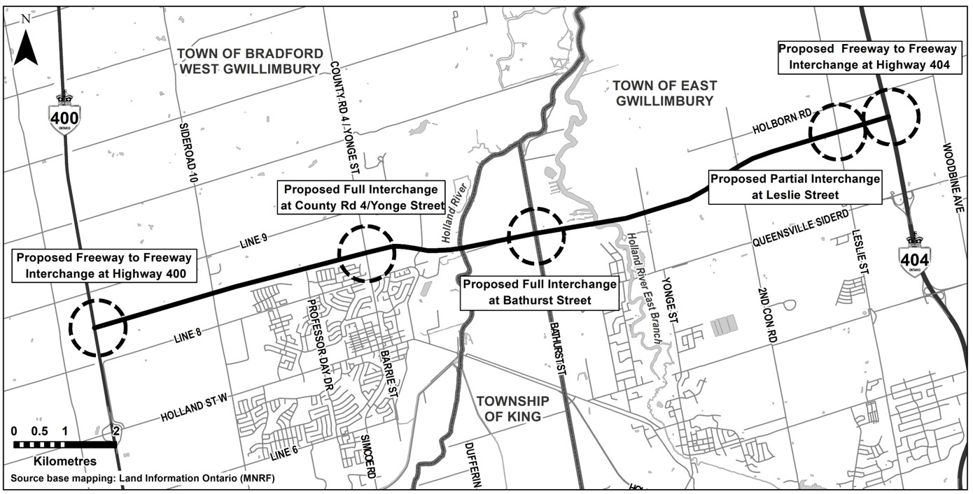 Bradford Bypass Project Limits with proposed interchanges at Highway 400, County Road 4, Bathurst Street, Leslie Street and Highway 404.
