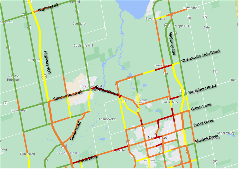 Map showing traffic without Bradford Bypass