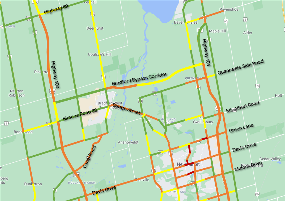 Map showing traffic with Bradford Bypass